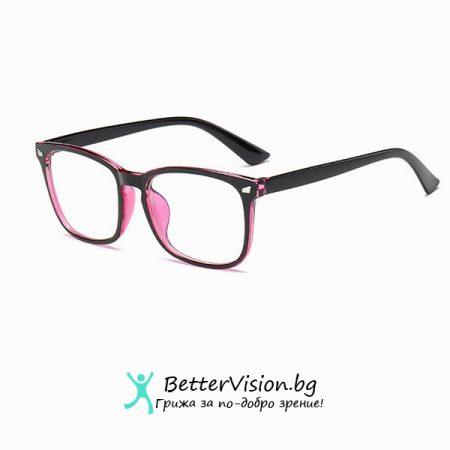 Очила за компютър – Черен гланц и Розово (Anti Blue Light)
