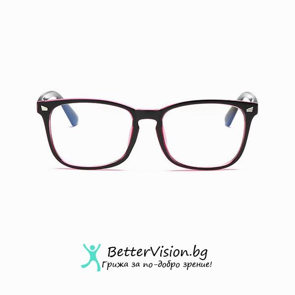 Черен гланц и Розово Очила за компютър – (Anti Blue Light)