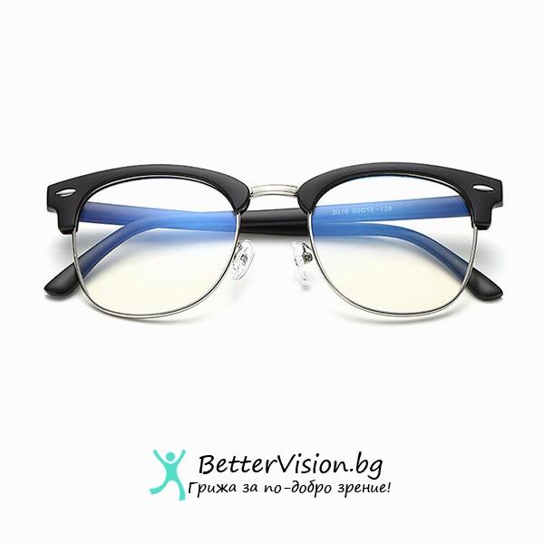 Очила за компютър Черен мат и сребърно