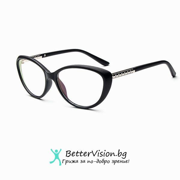 Очила за компютър Котешко око - черен мат и сребърно