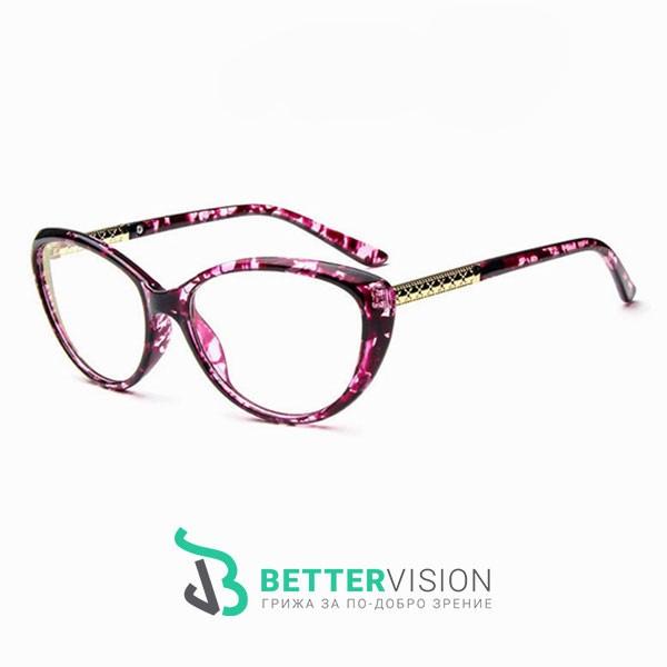 Рамки за очила котешко око лилави цветя