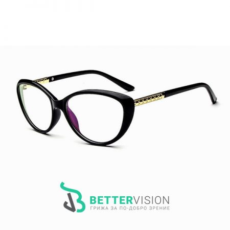 Рамки за очила - котешко око черен гланц и златно