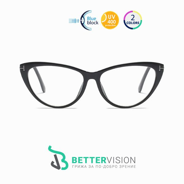 Очила за компютър Котешко око - Черно и метално