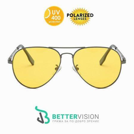 Очила с жълти стъкла за нощно шофиране Авиатор